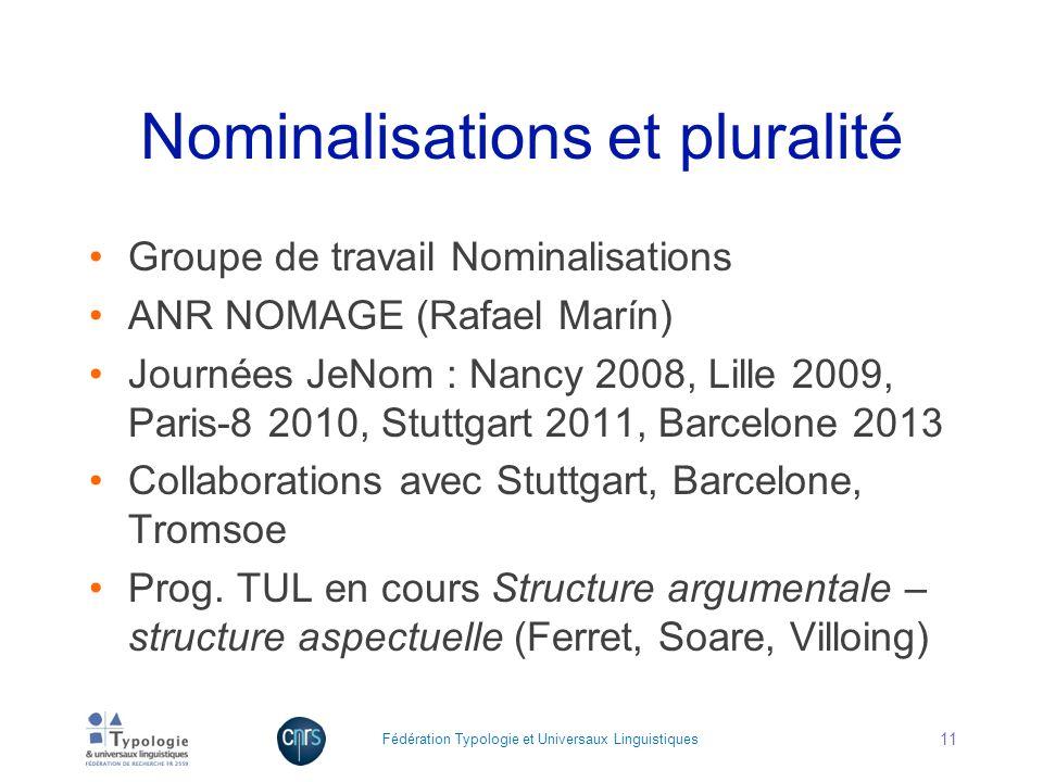 Nominalisations et pluralité Groupe de travail Nominalisations ANR NOMAGE (Rafael Marín) Journées JeNom : Nancy 2008, Lille 2009, Paris-8 2010, Stuttg