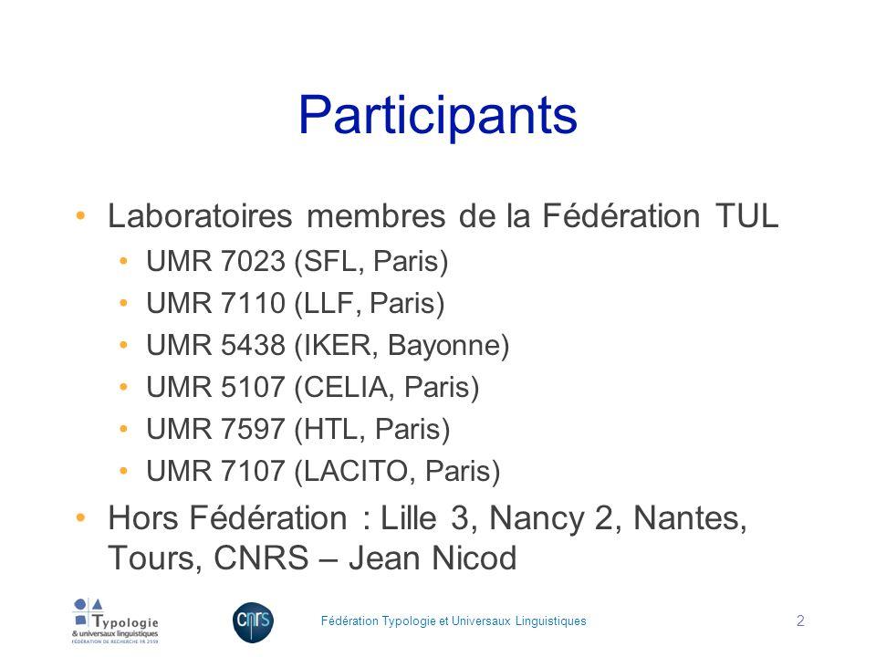 Participants Laboratoires membres de la Fédération TUL UMR 7023 (SFL, Paris) UMR 7110 (LLF, Paris) UMR 5438 (IKER, Bayonne) UMR 5107 (CELIA, Paris) UM