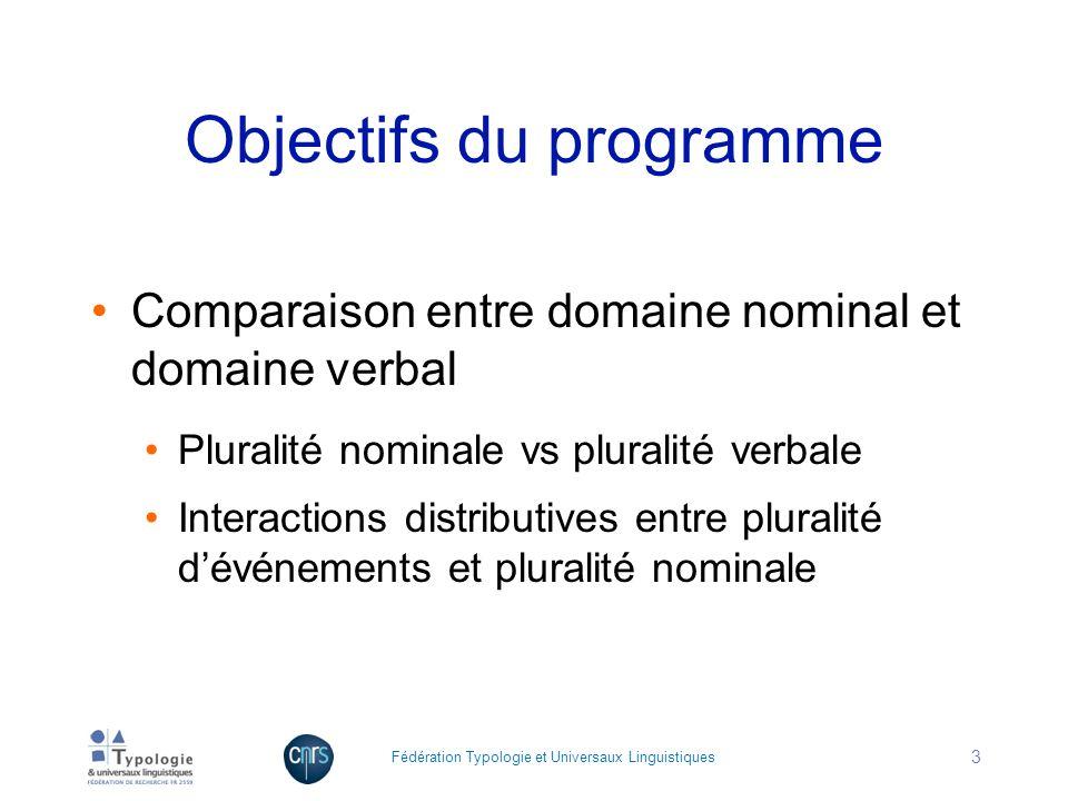 Objectifs du programme Comparaison entre domaine nominal et domaine verbal Pluralité nominale vs pluralité verbale Interactions distributives entre pl