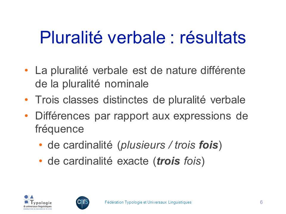 Pluralité verbale : résultats La pluralité verbale est de nature différente de la pluralité nominale Trois classes distinctes de pluralité verbale Dif