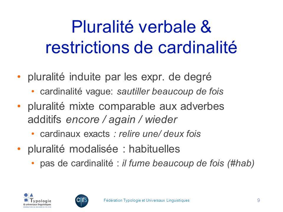 Pluralité verbale & restrictions de cardinalité pluralité induite par les expr. de degré cardinalité vague: sautiller beaucoup de fois pluralité mixte