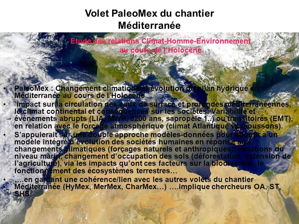 PaleoMex : Changement climatique et évolution du bilan hydrique en Méditerranée au cours de lHolocène impact sur la circulation des eaux de surface et