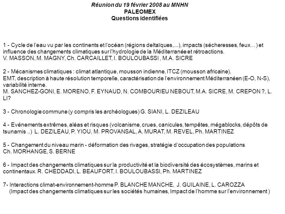 Réunion du 19 février 2008 au MNHN PALEOMEX Questions identifiées 1 - Cycle de leau vu par les continents et locéan (régions deltaïques,...), impacts