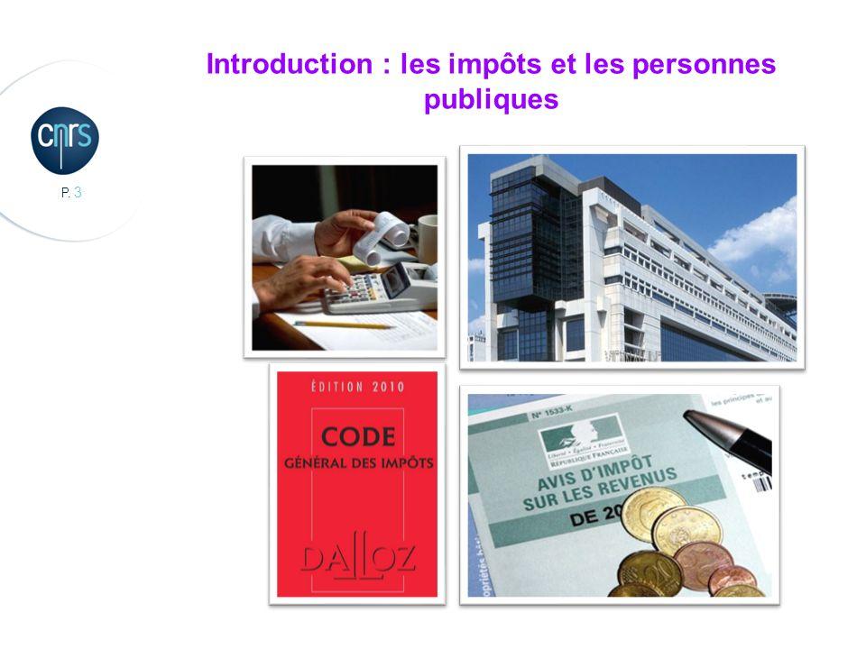 P.4 Introduction : les impôts et les personnes publiques 1.Impôt : Quid .