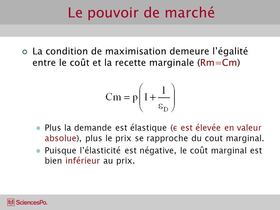 Le pouvoir de marché La condition de maximisation demeure légalité entre le coût et la recette marginale (Rm=Cm) Plus la demande est élastique (ε est