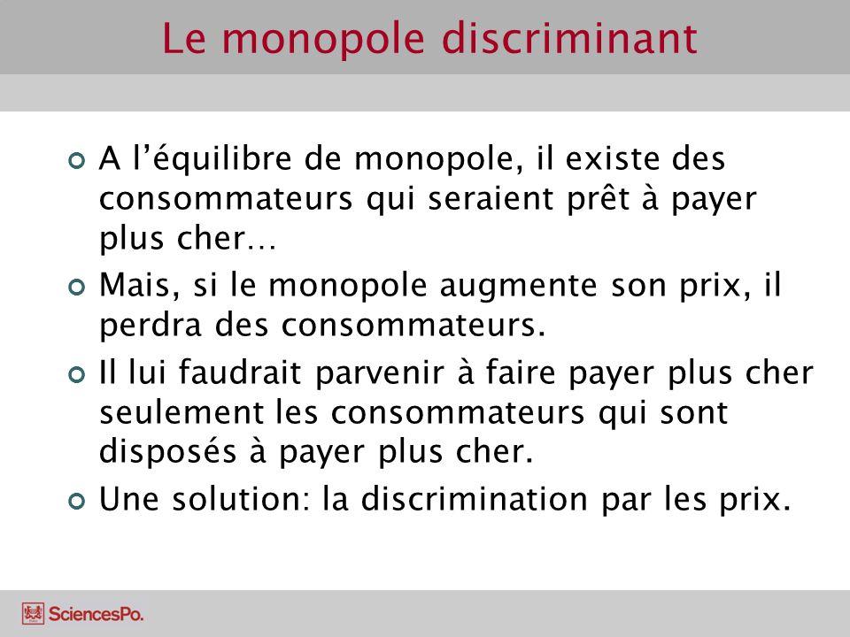 Le monopole discriminant A léquilibre de monopole, il existe des consommateurs qui seraient prêt à payer plus cher… Mais, si le monopole augmente son