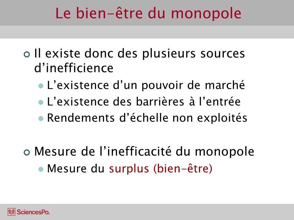 Il existe donc des plusieurs sources dinefficience Lexistence dun pouvoir de marché Lexistence des barrières à lentrée Rendements déchelle non exploit