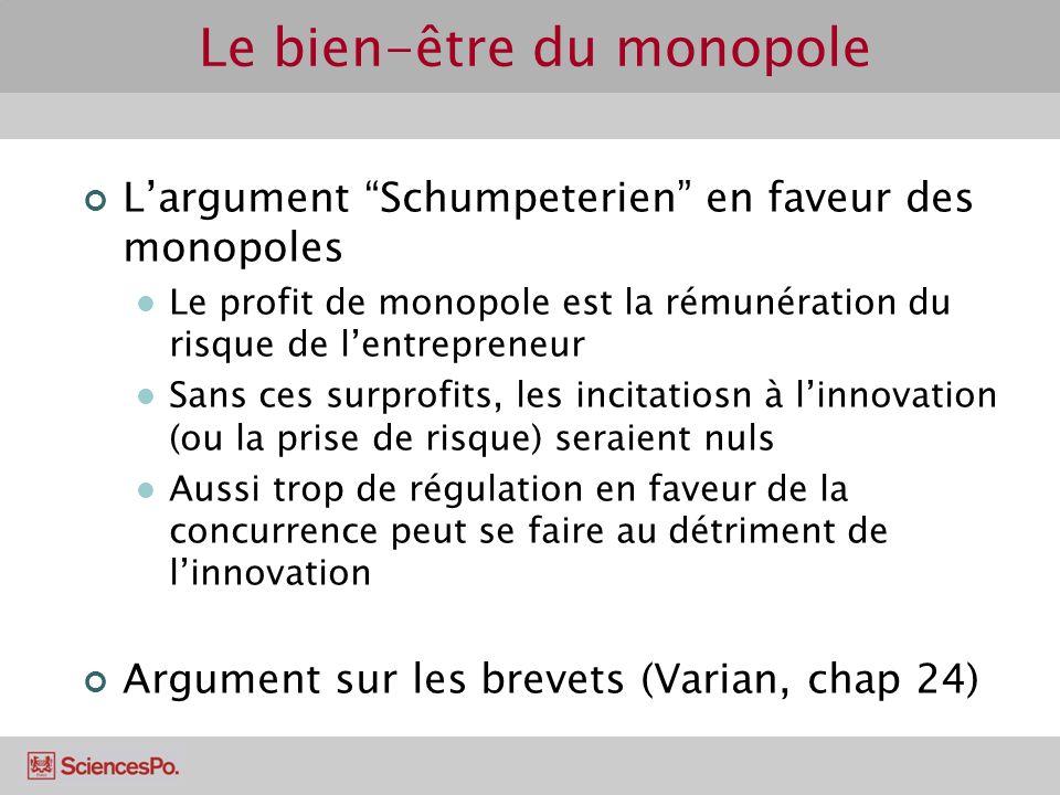 Largument Schumpeterien en faveur des monopoles Le profit de monopole est la rémunération du risque de lentrepreneur Sans ces surprofits, les incitati