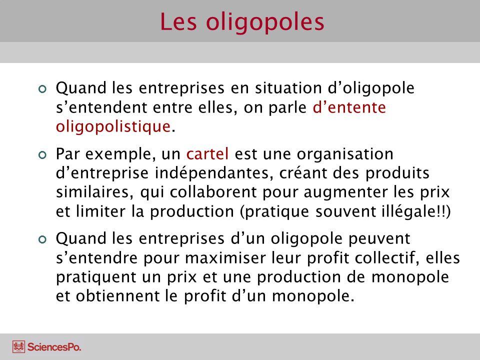 Quand les entreprises en situation doligopole sentendent entre elles, on parle dentente oligopolistique. Par exemple, un cartel est une organisation d