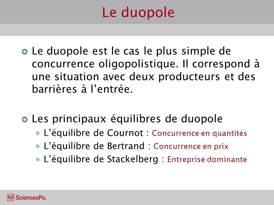 Le duopole Le duopole est le cas le plus simple de concurrence oligopolistique. Il correspond à une situation avec deux producteurs et des barrières à