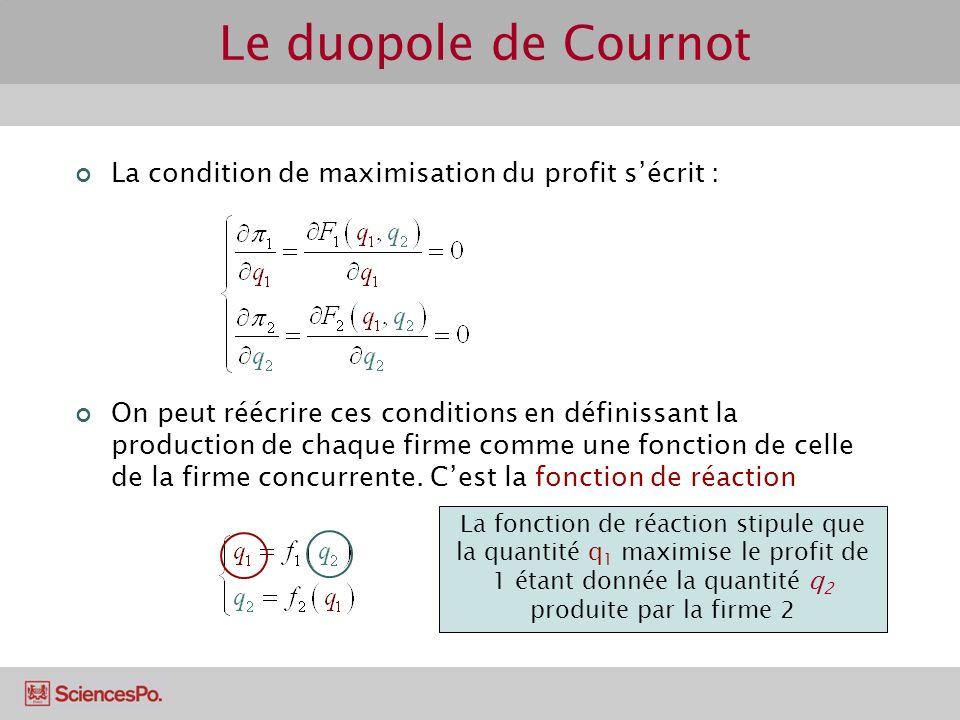 La condition de maximisation du profit sécrit : On peut réécrire ces conditions en définissant la production de chaque firme comme une fonction de cel