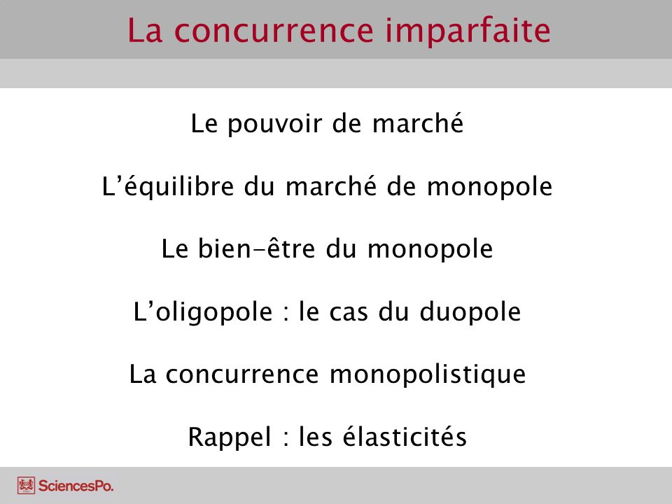 Le pouvoir de marché Léquilibre du marché de monopole Le bien-être du monopole Loligopole : le cas du duopole La concurrence monopolistique Rappel : l