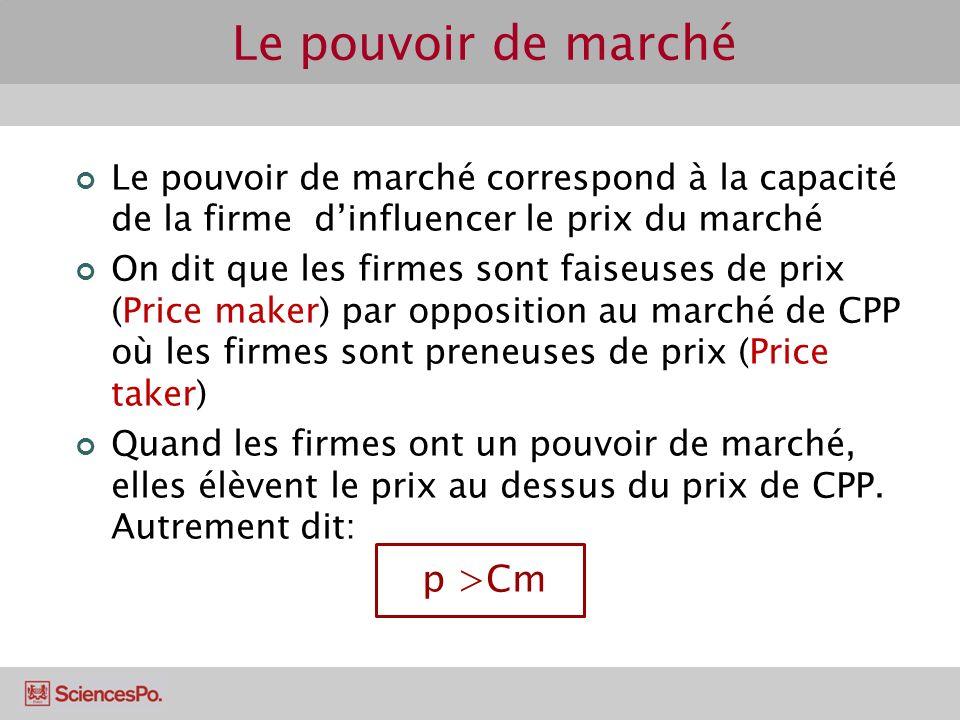 Le pouvoir de marché Le pouvoir de marché correspond à la capacité de la firme dinfluencer le prix du marché On dit que les firmes sont faiseuses de p
