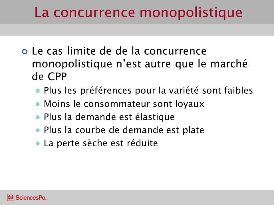 Le cas limite de de la concurrence monopolistique nest autre que le marché de CPP Plus les préférences pour la variété sont faibles Moins le consommat