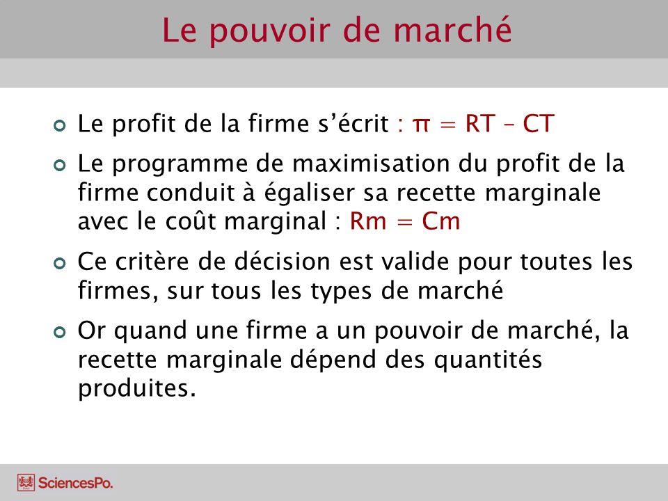 Le profit de la firme sécrit : π = RT – CT Le programme de maximisation du profit de la firme conduit à égaliser sa recette marginale avec le coût mar