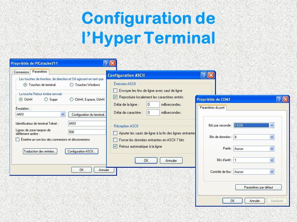 Configuration de lHyper Terminal