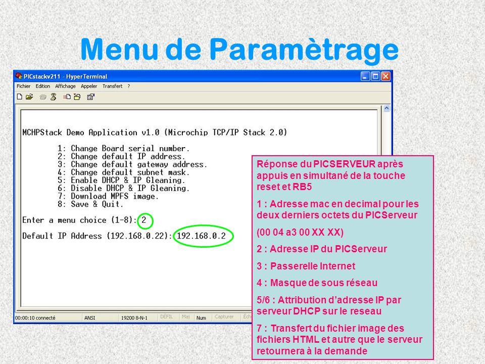 Menu de Paramètrage Réponse du PICSERVEUR après appuis en simultané de la touche reset et RB5 1 : Adresse mac en decimal pour les deux derniers octets