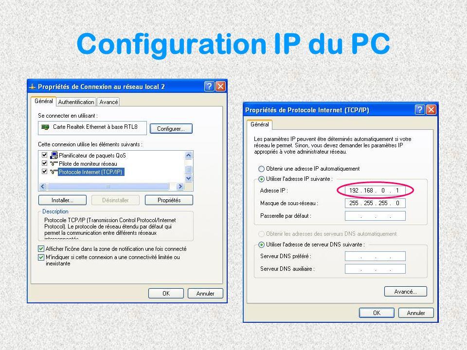 Configuration IP du PC