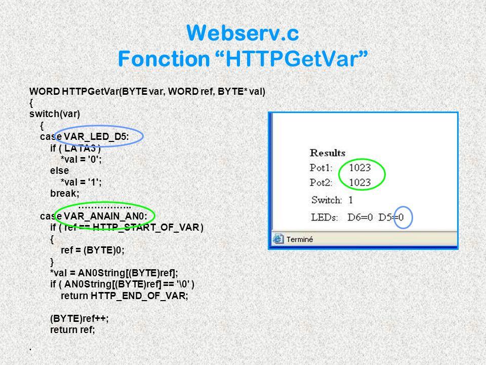 WORD HTTPGetVar(BYTE var, WORD ref, BYTE* val) { switch(var) { case VAR_LED_D5: if ( LATA3 ) *val = '0'; else *val = '1'; break; …………….. case VAR_ANAI