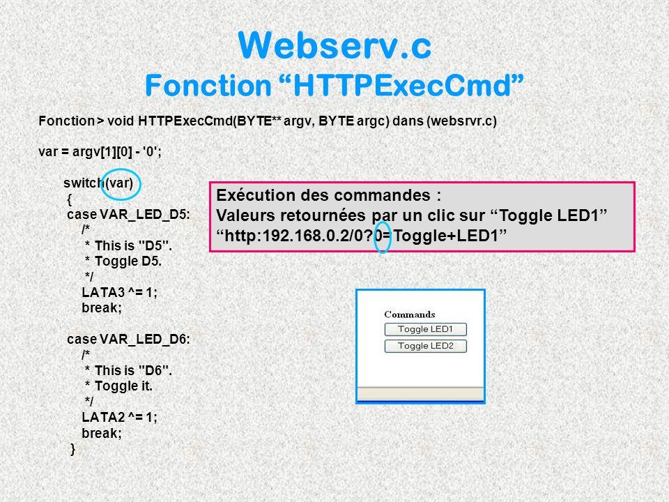Webserv.c Fonction HTTPExecCmd Fonction > void HTTPExecCmd(BYTE** argv, BYTE argc) dans (websrvr.c) var = argv[1][0] - '0'; switch(var) { case VAR_LED