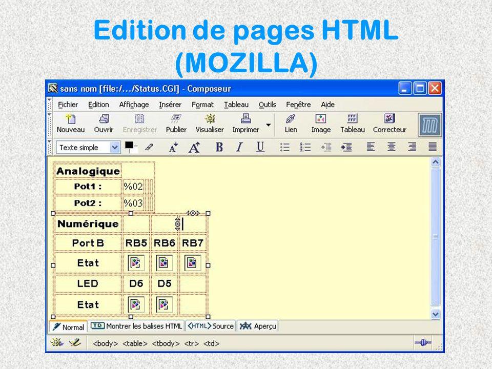 Edition de pages HTML (MOZILLA)