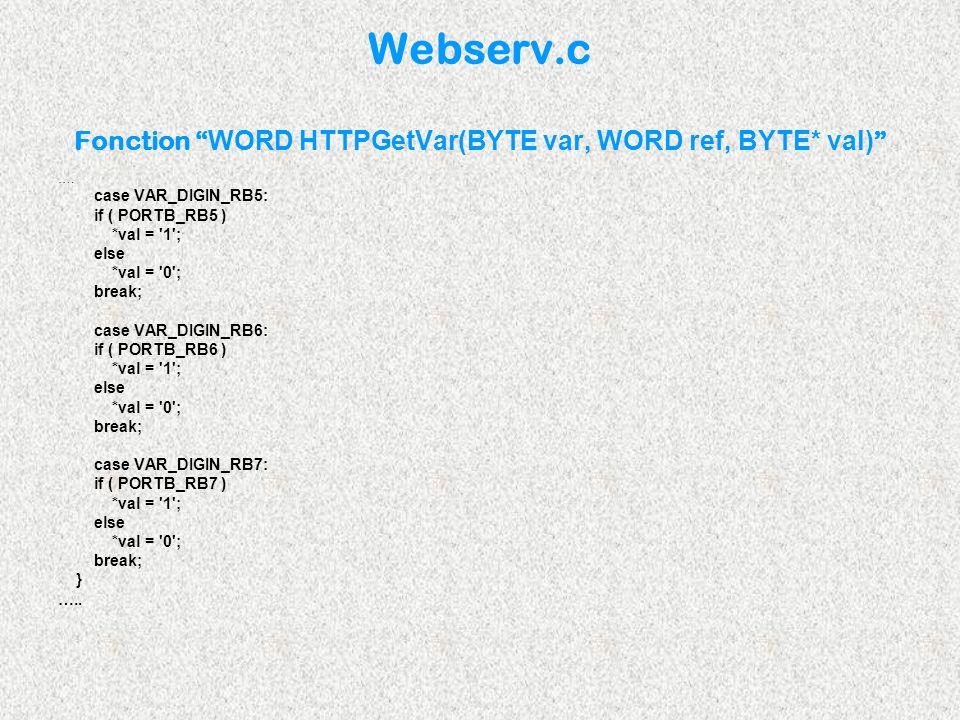 Webserv.c Fonction WORD HTTPGetVar(BYTE var, WORD ref, BYTE* val) …. case VAR_DIGIN_RB5: if ( PORTB_RB5 ) *val = '1'; else *val = '0'; break; case VAR