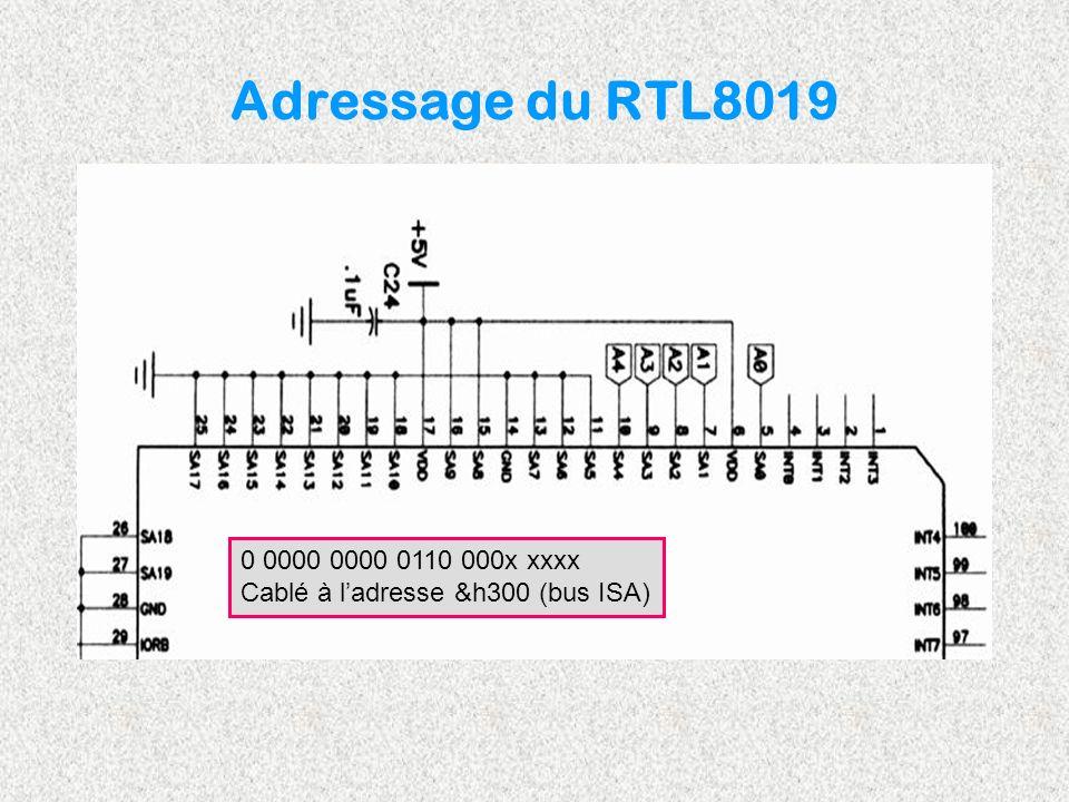 Carte test ISA RTL8019 NE2000 ISA