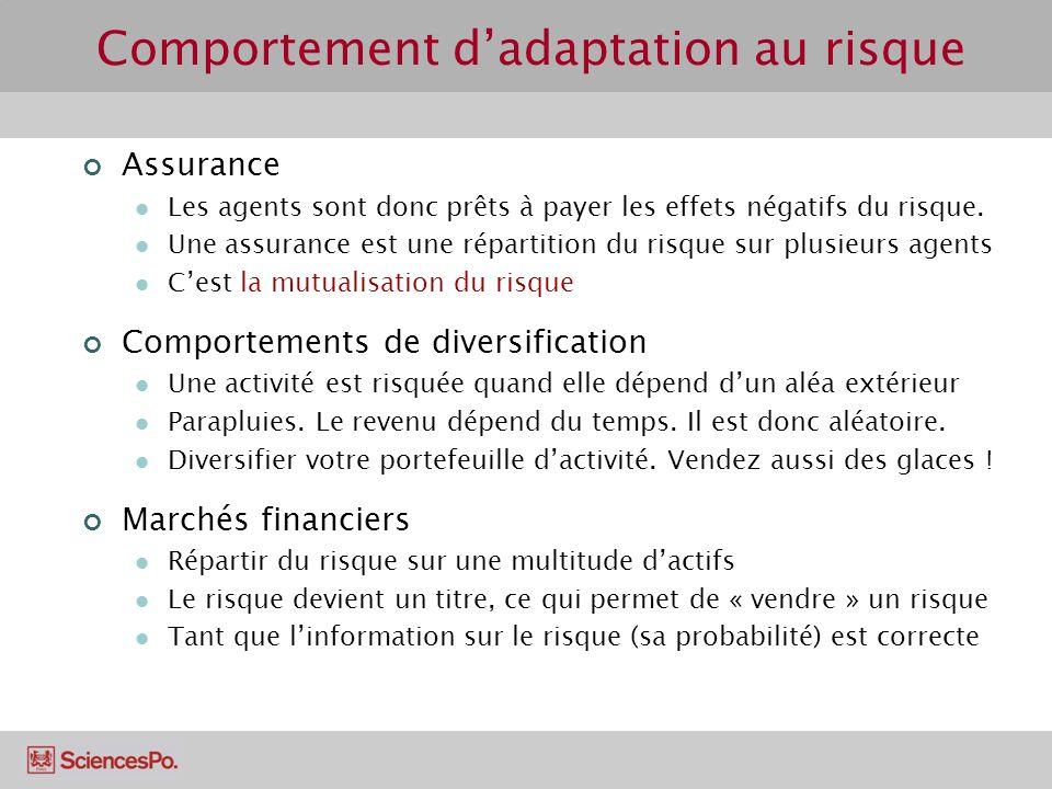 Comportement dadaptation au risque Assurance Les agents sont donc prêts à payer les effets négatifs du risque.