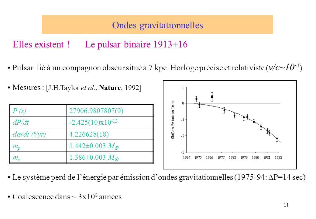 11 Elles existent ! Le pulsar binaire 1913+16 Pulsar lié à un compagnon obscur situé à 7 kpc. Horloge précise et relativiste ( v/c~10 -3 ) Mesures : [
