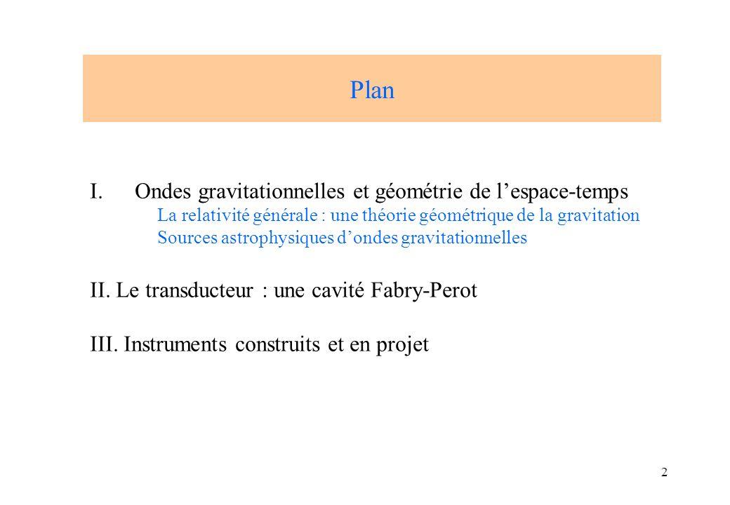 2 Plan I.Ondes gravitationnelles et géométrie de lespace-temps La relativité générale : une théorie géométrique de la gravitation Sources astrophysiqu