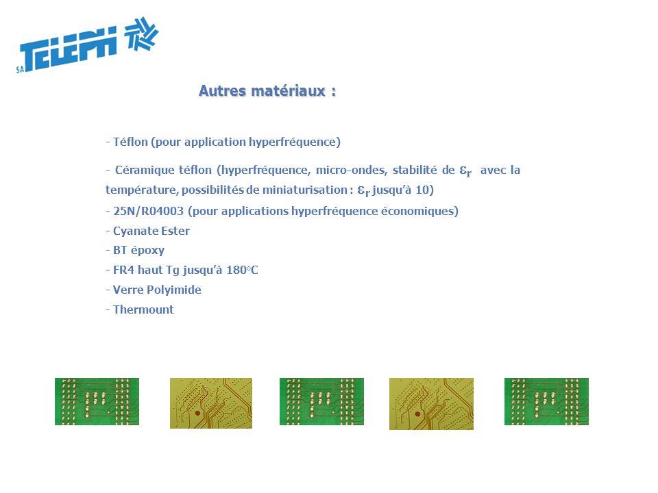 Autres matériaux : - Téflon (pour application hyperfréquence) - Céramique téflon (hyperfréquence, micro-ondes, stabilité de r avec la température, pos