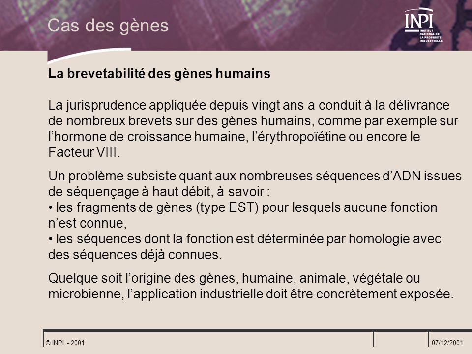 07/12/2001 © INPI - 2001 La brevetabilité des gènes humains La jurisprudence appliquée depuis vingt ans a conduit à la délivrance de nombreux brevets