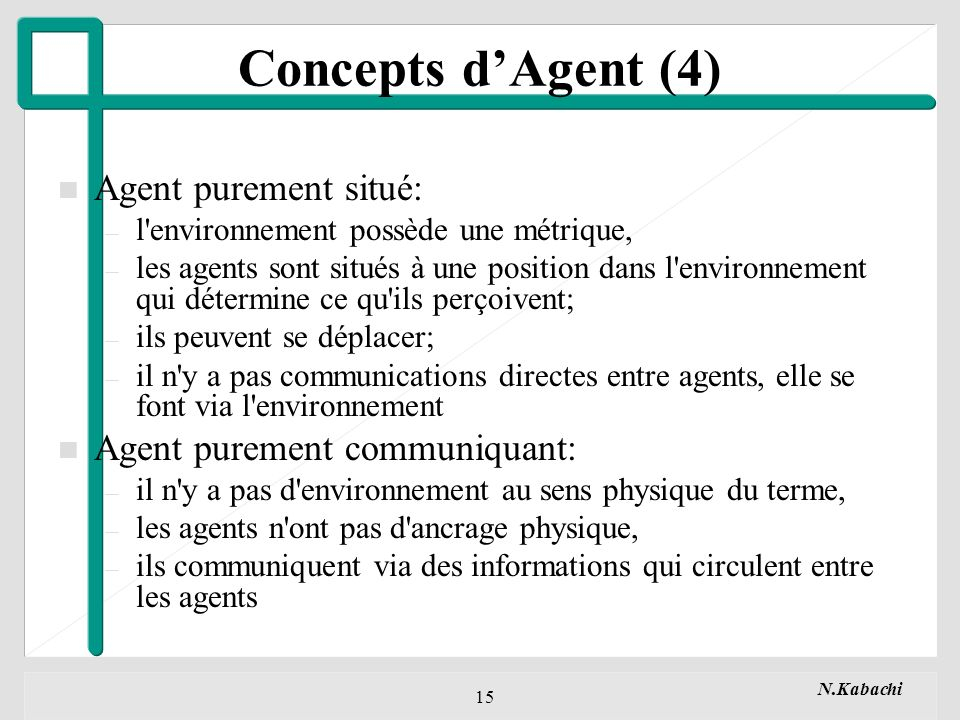 N.Kabachi 15 n Agent purement situé: – l environnement possède une métrique, – les agents sont situés à une position dans l environnement qui détermine ce qu ils perçoivent; – ils peuvent se déplacer; – il n y a pas communications directes entre agents, elle se font via l environnement n Agent purement communiquant: – il n y a pas d environnement au sens physique du terme, – les agents n ont pas d ancrage physique, – ils communiquent via des informations qui circulent entre les agents Concepts dAgent (4)