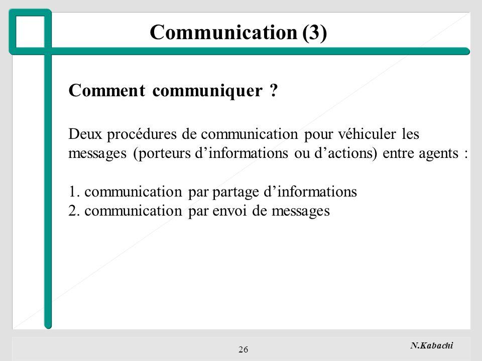 N.Kabachi 26 Communication (3) Comment communiquer .
