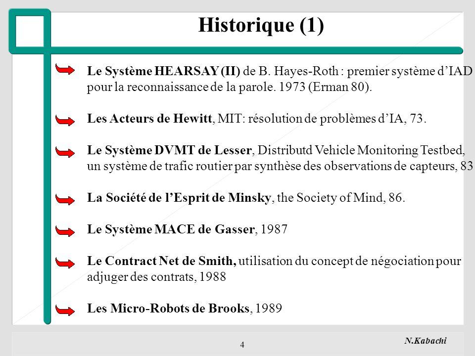 N.Kabachi 5 Historique (2) Une nouvelle approche sest développée depuis, elle essaye de faire Coopérer des Entités auxquelles sont rattachées des caractéristiques de haut niveau.