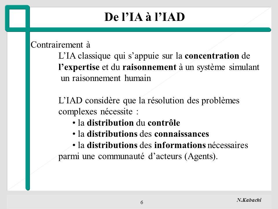 N.Kabachi 7 Thèmes de recherche de lIAD Trois Axes Fondamentaux : 1.