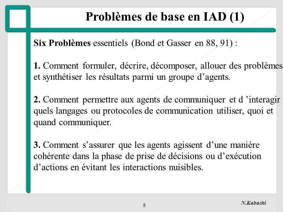 N.Kabachi 8 Problèmes de base en IAD (1) Six Problèmes essentiels (Bond et Gasser en 88, 91) : 1.