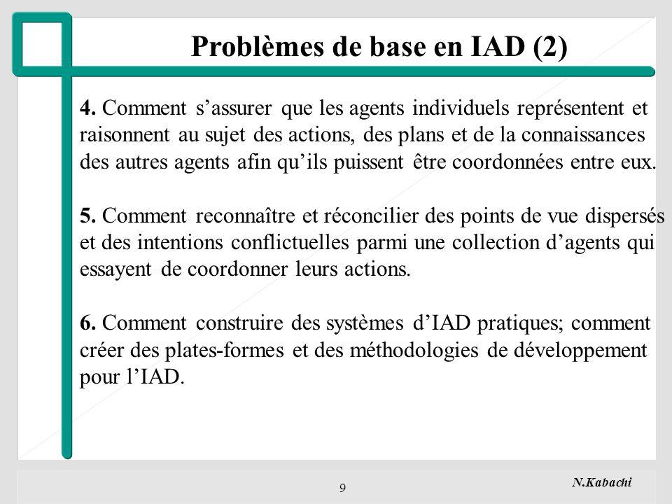 N.Kabachi 30 Processus d« Interprétation » - Scrutation de la boîte aux lettres (périodiquement, ou par signaux dactivation) - Classification en fonction du type de message, - Envoi signal à l« unité de contrôle ».