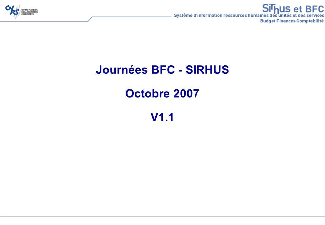 CNRS – SIRHUS et BFC – journées d information - V1.1 - octobre 200722 Disponibilité des crédits – recrutements sur RP Elle est obligatoire pour finaliser lembauche Elle est réalisée dans BFC par : La saisie dun pré-engagement (facultatif, mais…) Anonyme Sans transfert vers Xlab La saisie dun engagement (obligatoire) En référence à un pré-engagement si présent En référence à un tiers fournisseur (retrouvé via le matricule) Avec transfert vers Xlab sous la forme dune commande de personnel La fiche navette est complétée avec lattestation de disponibilité des crédits