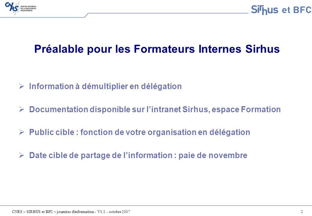CNRS – SIRHUS et BFC – journées d information - V1.1 - octobre 200733 La comptabilisation des paies (2/2) Correction de la ventilation des coûts dun dossier - IT1018 du poste de travail