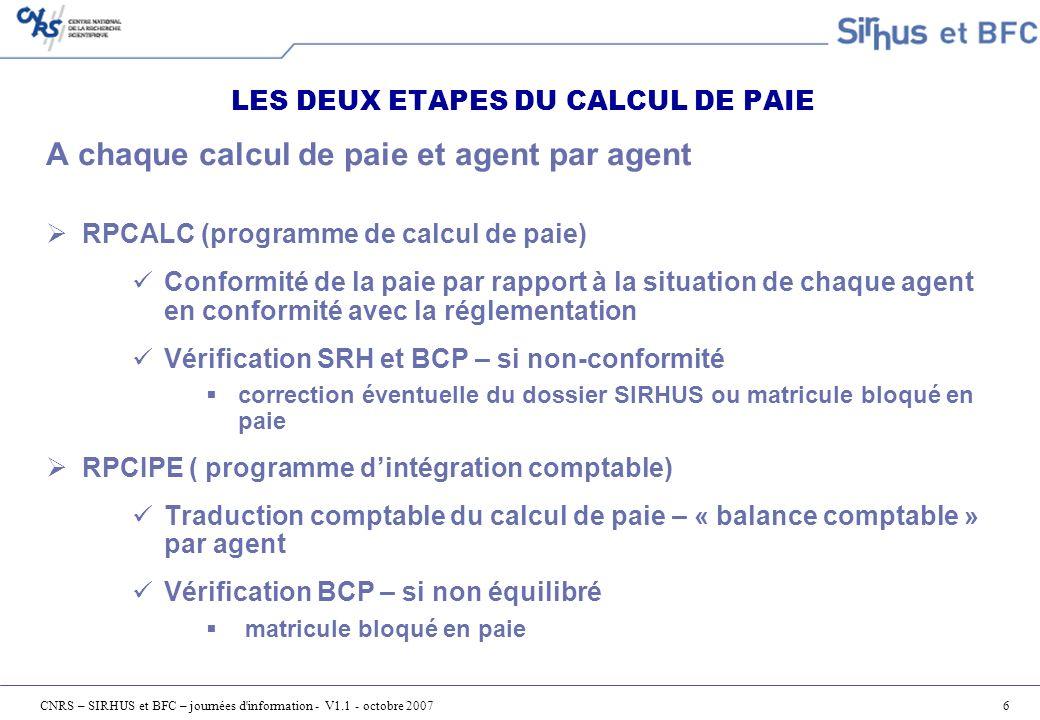 CNRS – SIRHUS et BFC – journées d information - V1.1 - octobre 200727 Contrôle de cohérence Sirhus – BFC Il est réalisé pour tous les agents imputés en totalité sur RP Au début du cycle de comptabilisation de la paie M Les contrôles portent sur : La présence obligatoire de lEI Le montant non soldé de lEI (=> montant total des charges) La cohérence des éléments analytiques (CC ou EOTP) Ces contrôles sont déclenchés par le BCP
