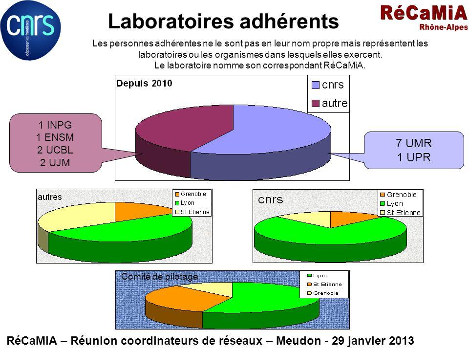Laboratoires adhérents RéCaMiA – Réunion coordinateurs de réseaux – Meudon - 29 janvier 2013 1 INPG 1 ENSM 2 UCBL 2 UJM 7 UMR 1 UPR Les personnes adhé