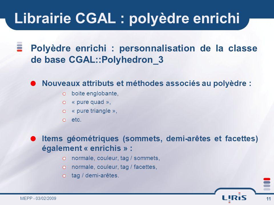 MEPP - 03/02/2009 11 Librairie CGAL : polyèdre enrichi Polyèdre enrichi : personnalisation de la classe de base CGAL::Polyhedron_3 Nouveaux attributs
