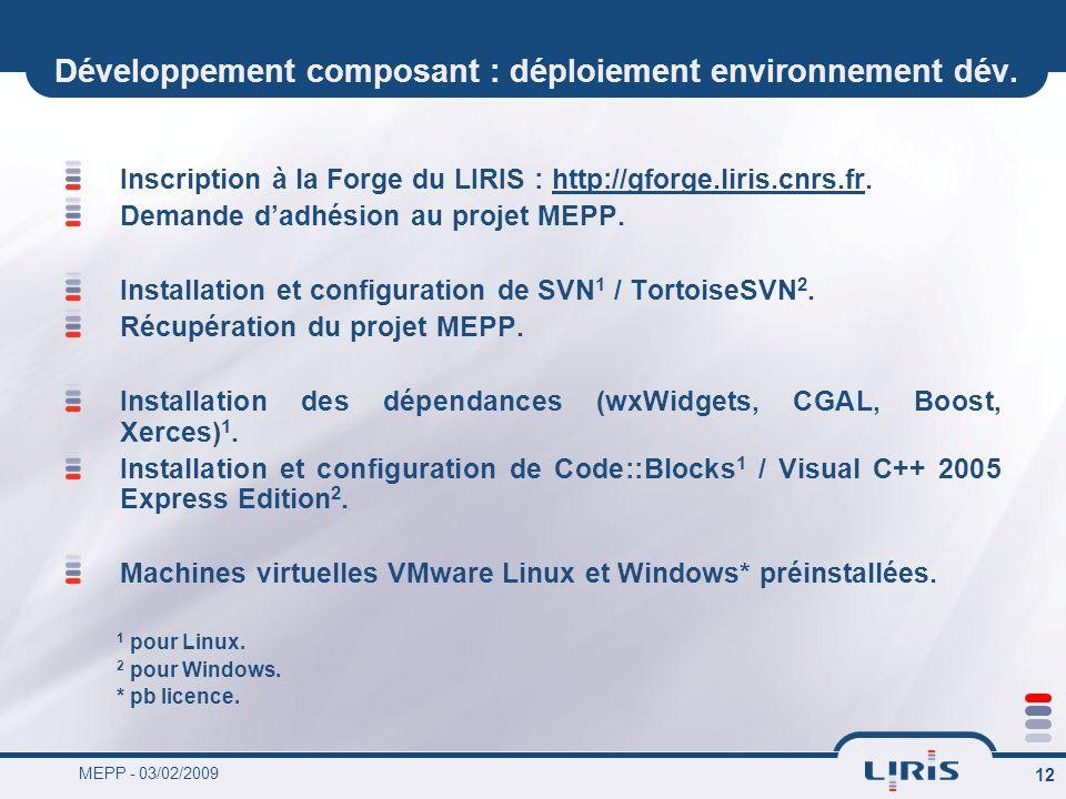MEPP - 03/02/2009 12 Développement composant : déploiement environnement dév. Inscription à la Forge du LIRIS : http://gforge.liris.cnrs.fr. Demande d