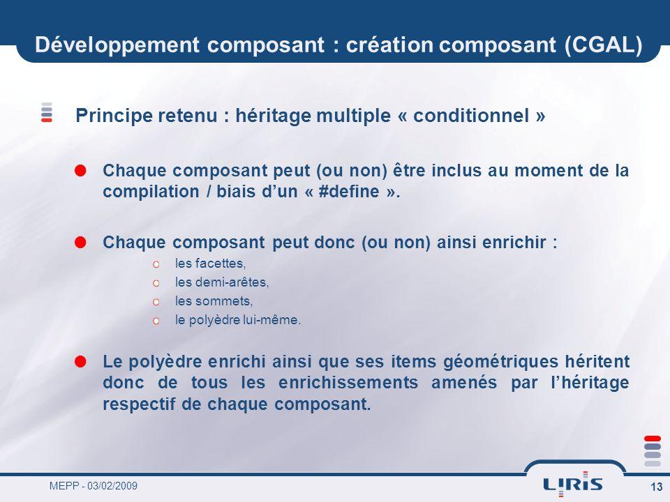 MEPP - 03/02/2009 13 Développement composant : création composant (CGAL) Principe retenu : héritage multiple « conditionnel » Chaque composant peut (o