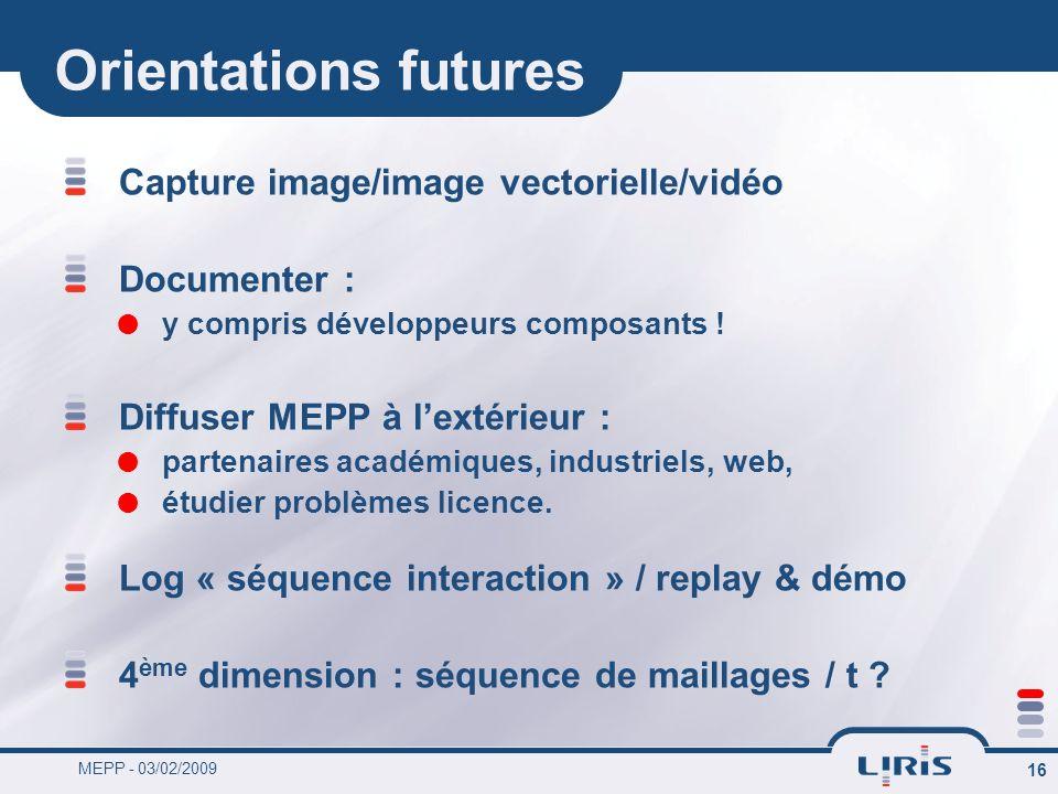 MEPP - 03/02/2009 16 Orientations futures Capture image/image vectorielle/vidéo Documenter : y compris développeurs composants ! Diffuser MEPP à lexté