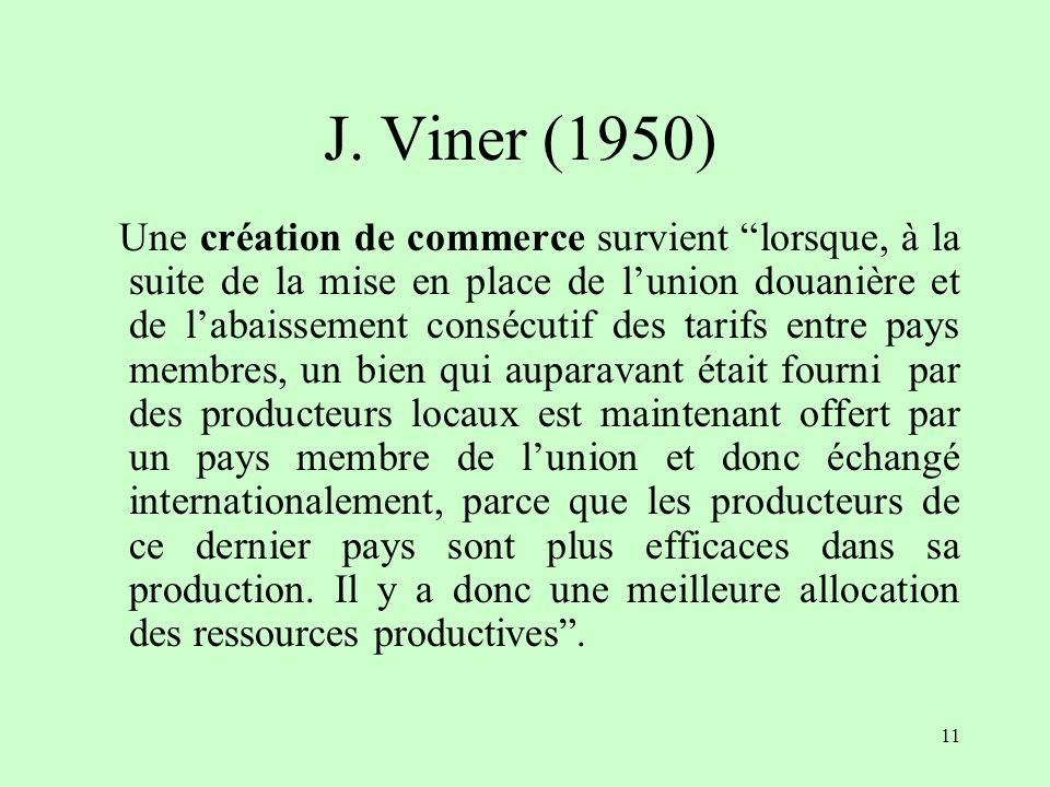 10 II- Les concepts de création et de détournement de commerce (Jacob Viner)