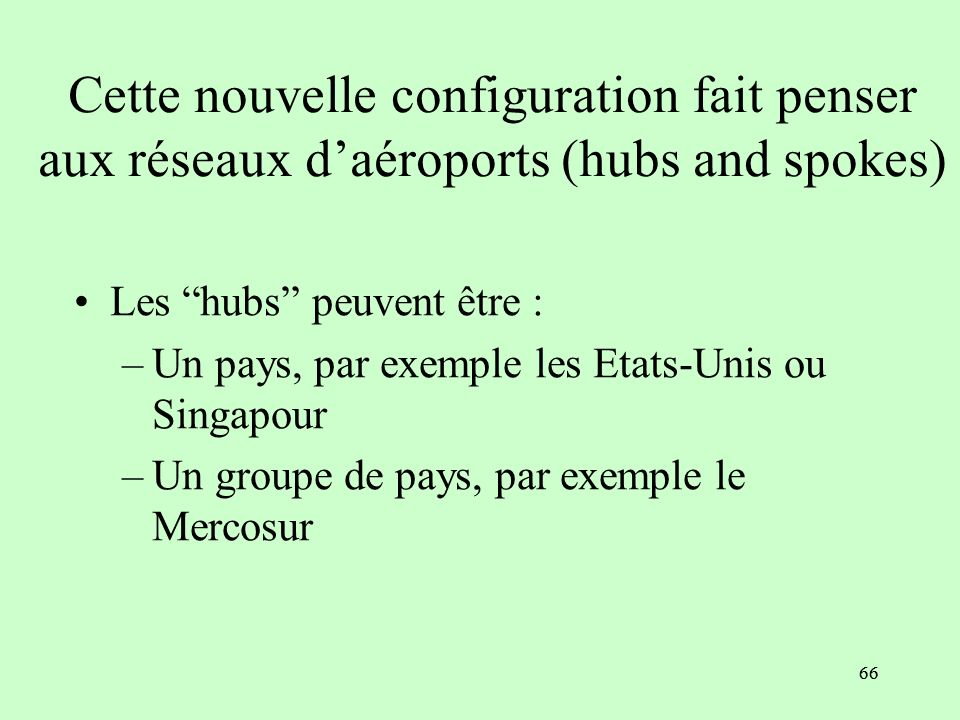 65 Pays 1 : Hub Pays 2 : Spoke Accord 1 RdM Accord 2 Pays 3 : Spoke Nouvelle configuration
