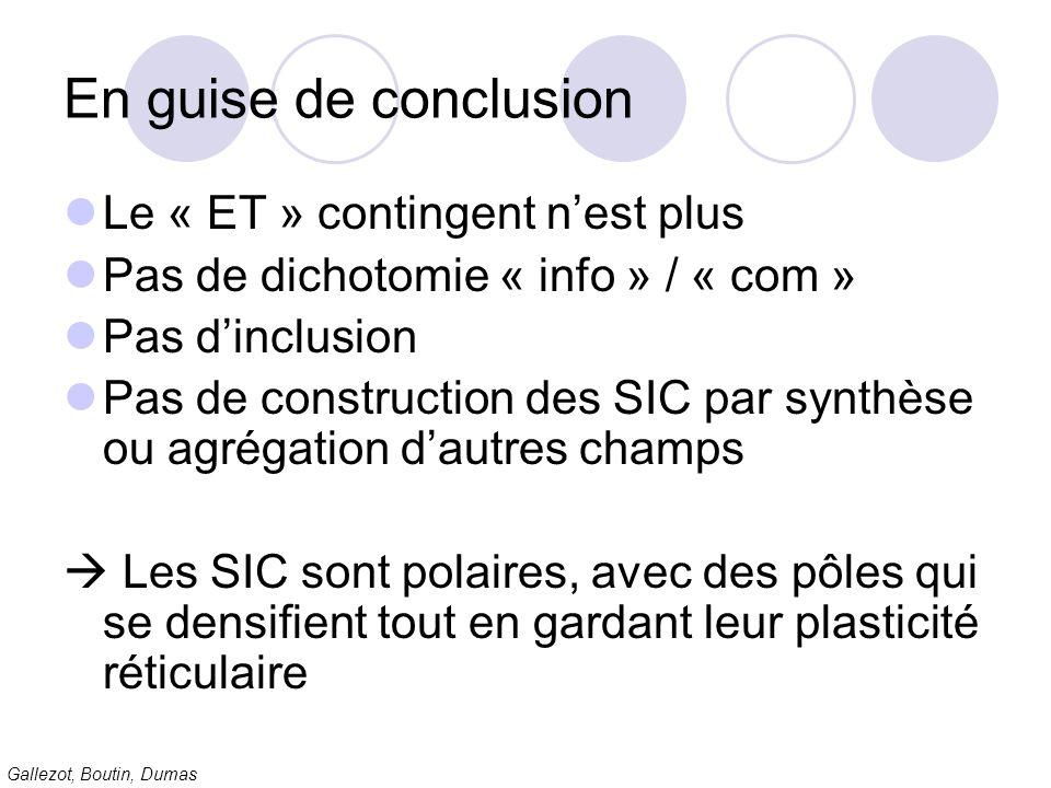 Gallezot, Boutin, Dumas En guise de conclusion Le « ET » contingent nest plus Pas de dichotomie « info » / « com » Pas dinclusion Pas de construction