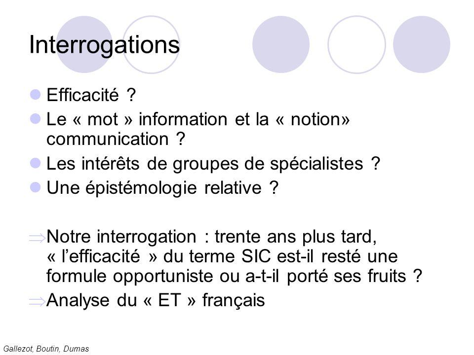 Gallezot, Boutin, Dumas Interrogations Efficacité ? Le « mot » information et la « notion» communication ? Les intérêts de groupes de spécialistes ? U